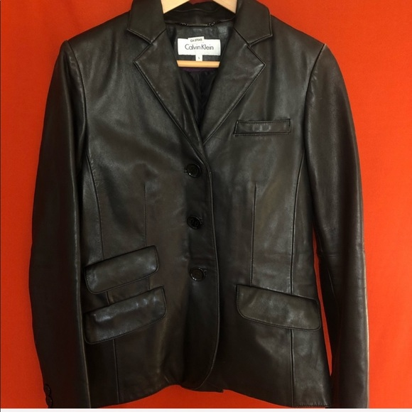 Calvin Klein black leather blazer